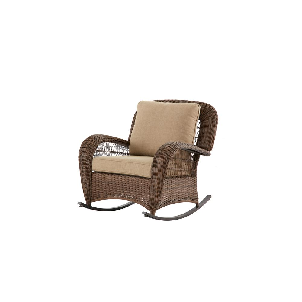 Beacon Park Wicker Outdoor Rocking Chair with Toffee Cushions