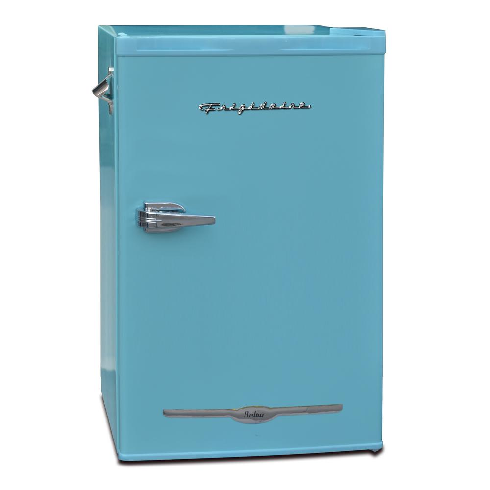 Frigidaire 3.2 cu. ft. Retro Mini Fridge in Blue When you hear the Frigidaire name, immediately you think of quality built, affordable Kitchen products. The 3.2 cu. ft. retro mini refrigerator is party ready with an attached side bottle opener and enough room for any type of beverage or snack. The interior freezer compartment will keep ice at the ready or your frozen snack chilled. Color: Blue.