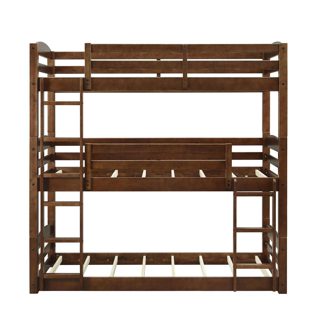 Dorel Brown Twin Triple Wood Bunk Bed Frame Noma