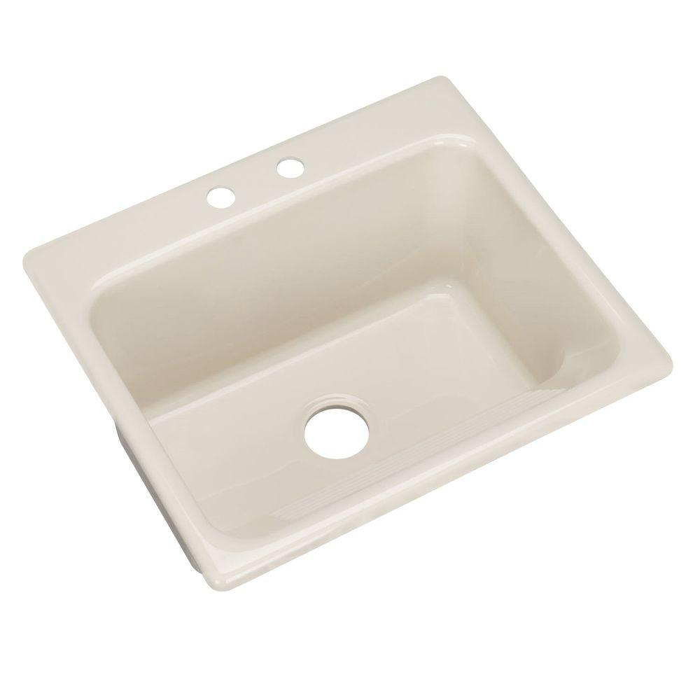 Thermocast Kensington Drop-In Acrylic 25 in. 2-Hole Single Bowl Utility Sink in Almond
