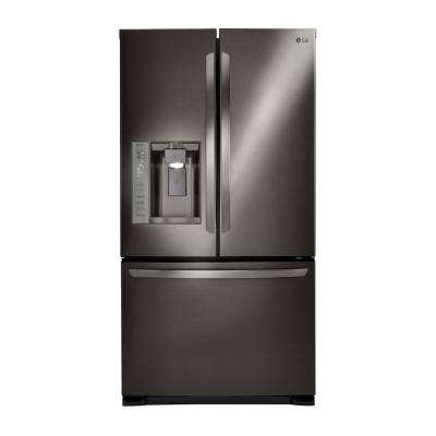 24 cu. ft. 3 Door French Door Refrigerator with Ice and Water Dispenser in Black Stainless Steel, ENERGY STAR