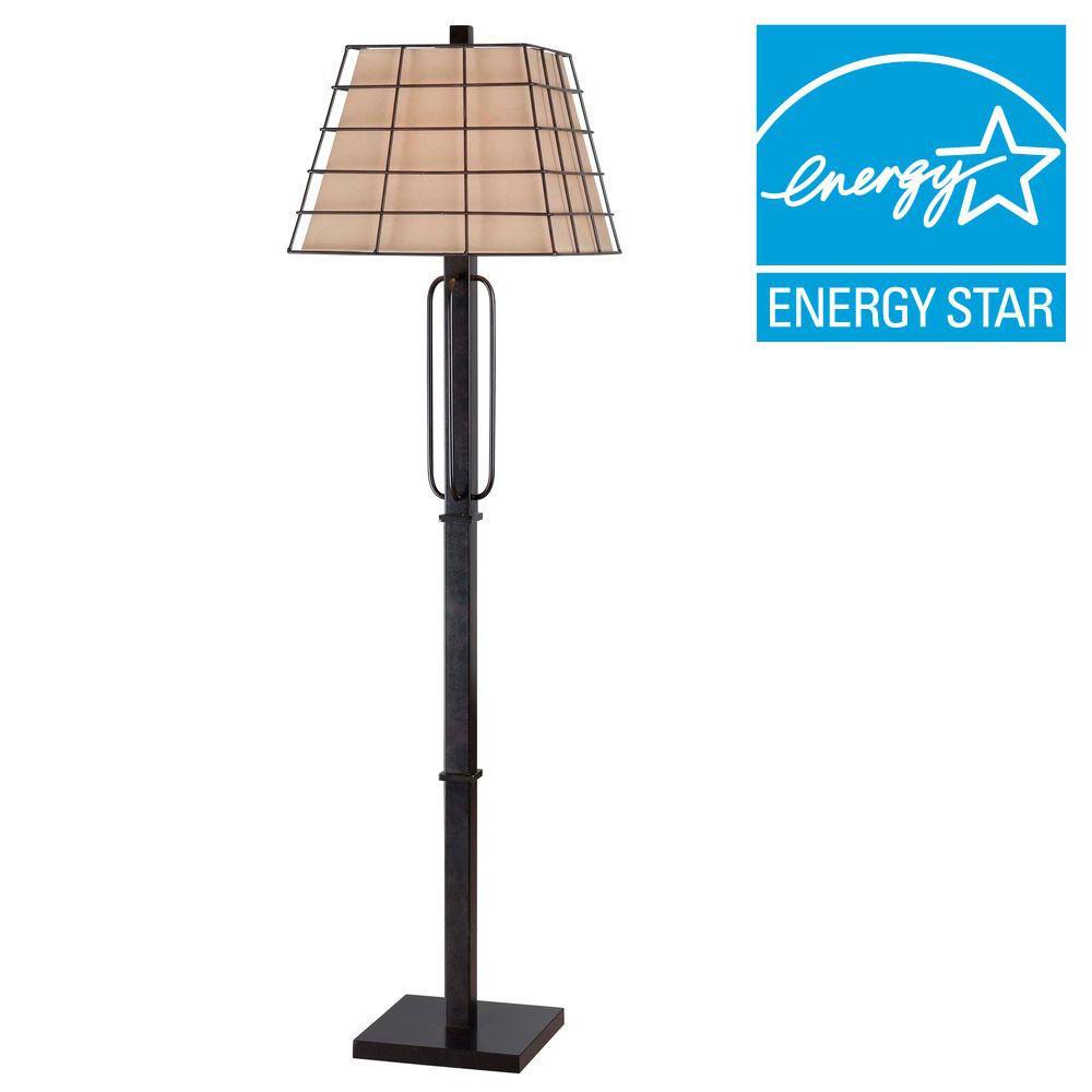 Kenroy Home Stockade 58 in. Golden Flecked Bronze Floor Lamp