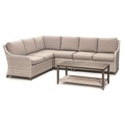 Hampton 5-Piece Wicker Outdoor Sectional with Sunbrella Cast Ash Cushions
