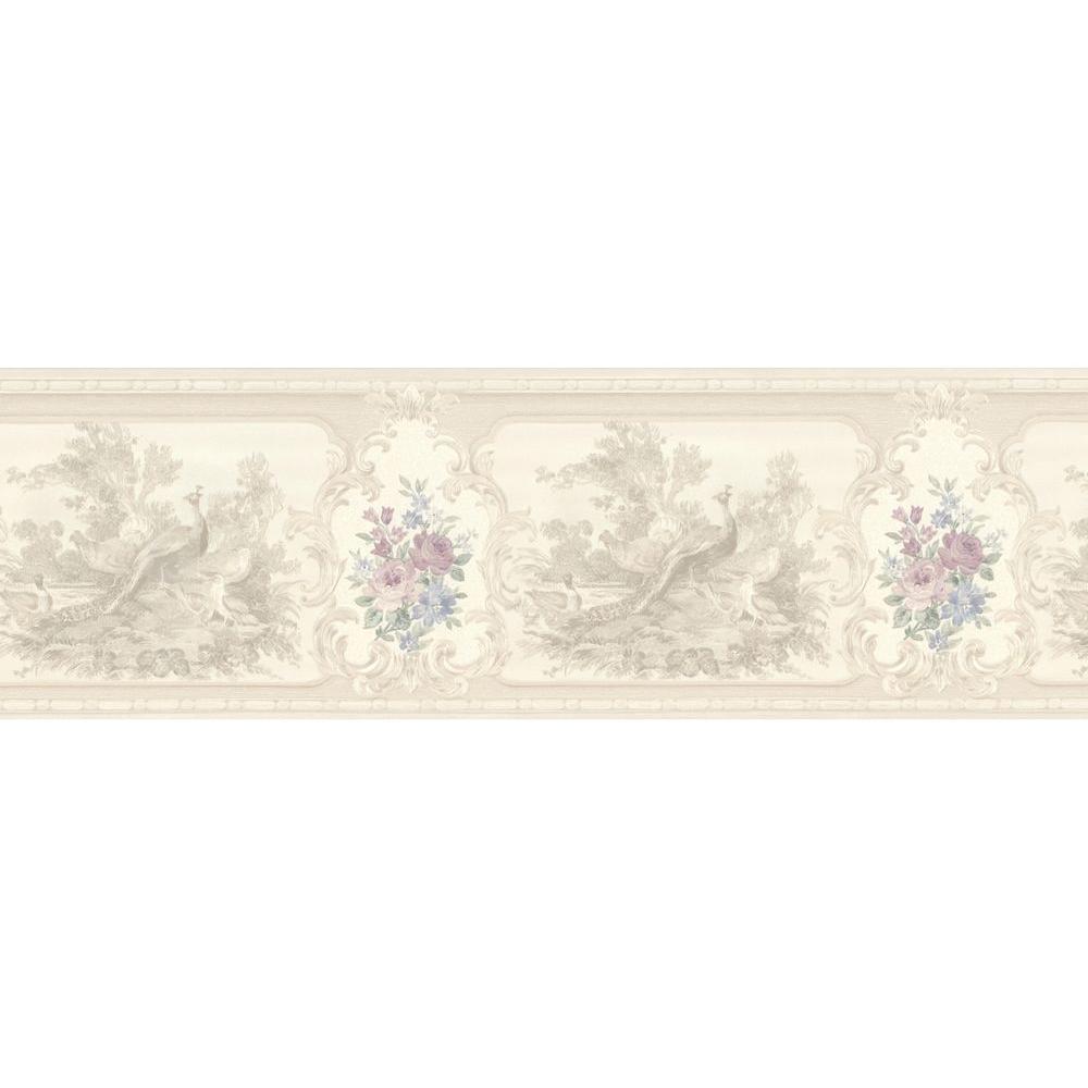 Kris Lavender Aviary Cameo Fleur Wallpaper Border