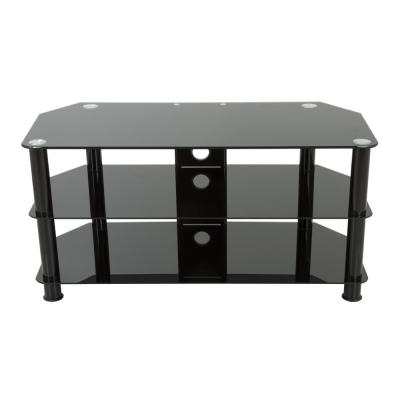 39 in. Black Glass TV Stand Fits TVs Up to 50 in. with Open Storage