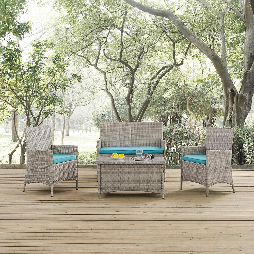 Bridge 4-Piece Wicker Outdoor Patio Conversation Set in Light Gray with