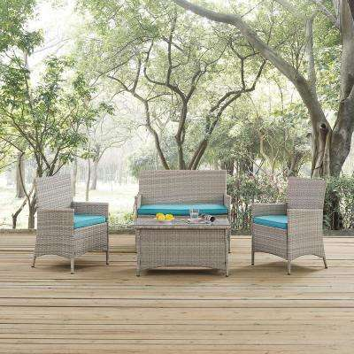 Bridge 4-Piece Wicker Outdoor Patio Conversation Set in Light Gray with Turquoise Cushions