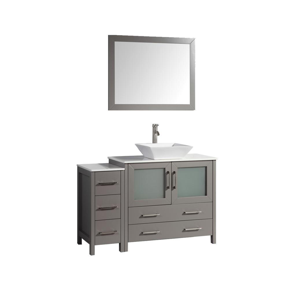 48 in. W x 18.5 in. D x 36 in. H Bathroom Vanity in Grey with Single Basin Vanity Top in White Ceramic and Mirror