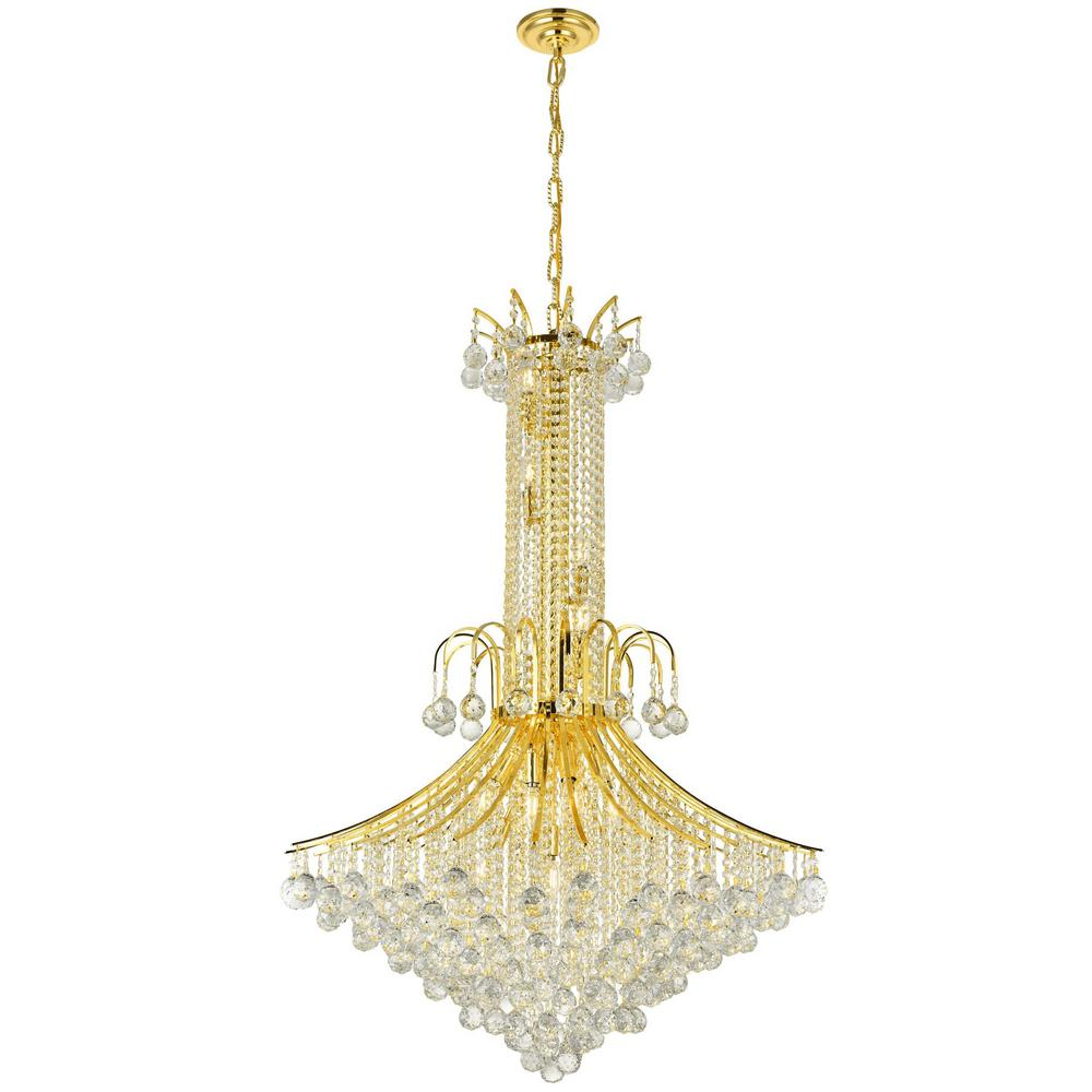 Worldwide Lighting Empire Collection 16-Light Polished Gold Crystal Chandelier