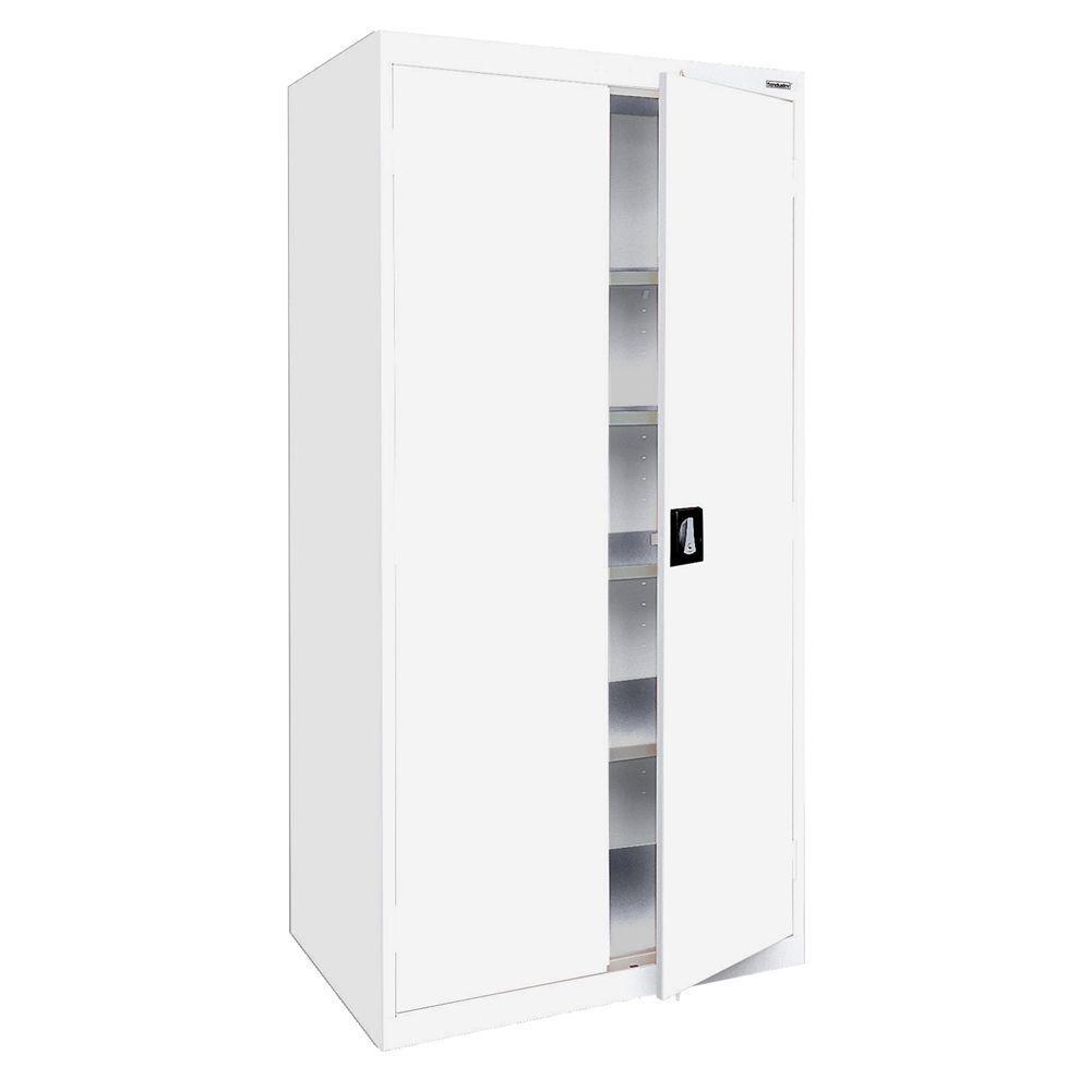 Elite Series 72 in. H x 36 in. W x 18 in. D 5-Shelf Steel Recessed Handle Storage Cabinet in White