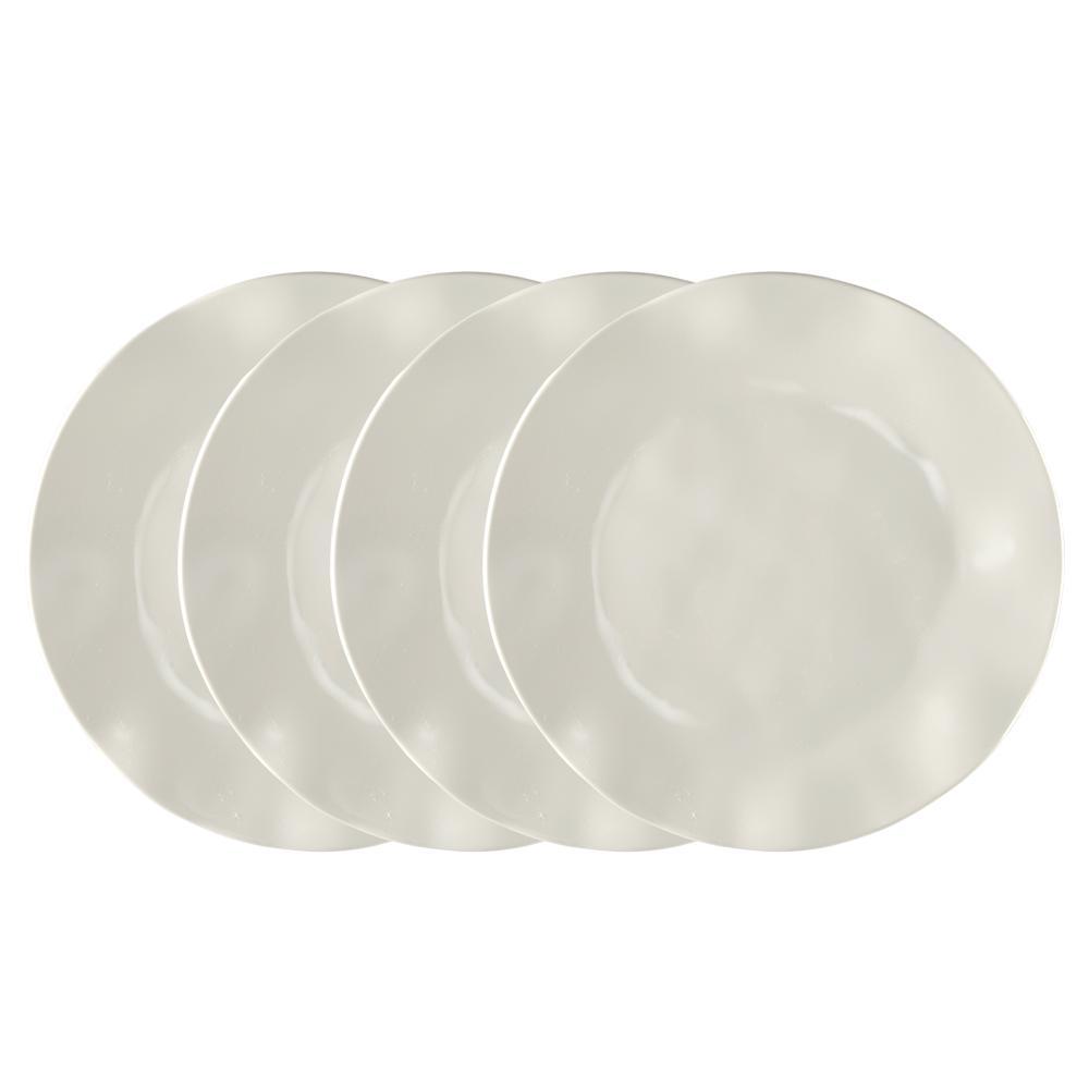 Ruffle 4-Piece Beige Melamine Dinner Plate Set