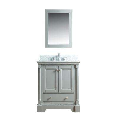 Olivia 30 in. W x 22 in. D Vanity in Gray with Marble Vanity Top in White with White Basin