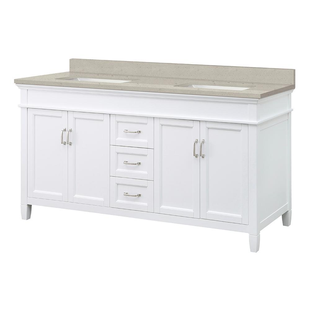 Ashburn 61 in. W x 22 in. D Vanity in White with Engineered Quartz Vanity Top in White with White Basin
