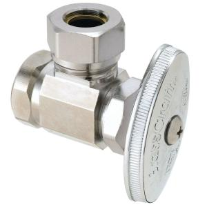 Brasscraft 1/2 inch FIP Inlet x 7/16 inch and 1/2 inch Slip-Joint Outlet Multi-Turn Angle Valve by BrassCraft