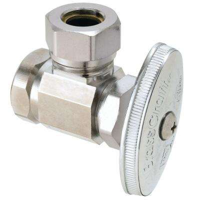 1/2 in. FIP Inlet x 7/16 in. and 1/2 in. O.D. Slip-Joint Outlet Brass Multi-Turn Angle Valve (5-Pack)