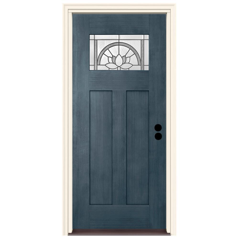 36 in. x 80 in. Left-Hand 1-Lite Craftsman Ardsley Denim Stained Fiberglass Prehung Front Door with Brickmould