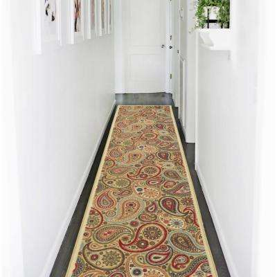 Ottohome Collection Contemporary Paisley Design Beige 2 ft. 7 in. x 9 ft. 10 in. Runner Rug