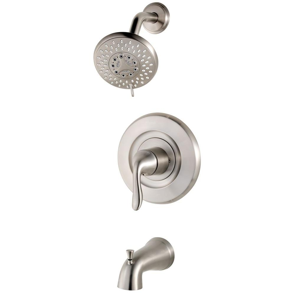 Pfister Universal Single-Handle Transitional Tub and Shower Faucet Trim Kit in Brushed Stainless Steel (Valve Not Included)
