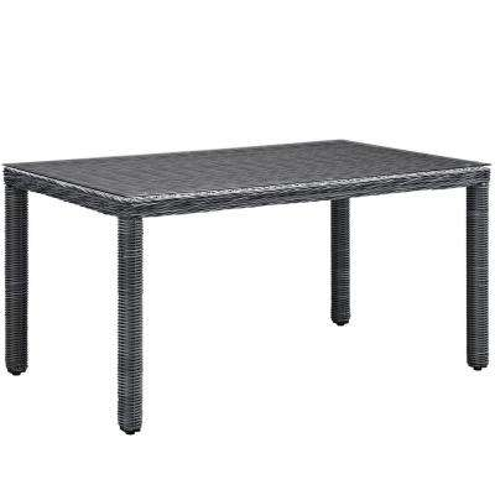 Summon in Gray 59 in. Patio Wicker Outdoor Dining Table