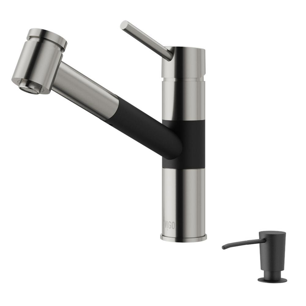 Vigo Branson Single Handle Pull Out Sprayer Kitchen Faucet