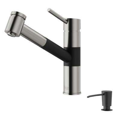 Branson Single-Handle Pull-Out Sprayer Kitchen Faucet with Soap Dispenser in Stainless Steel and Matte Black