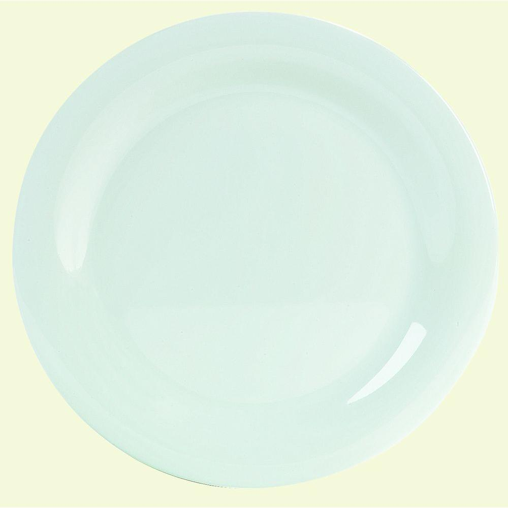 10.5 in. Diameter Melamine Narrow Rim Dinner Plate in White (Case