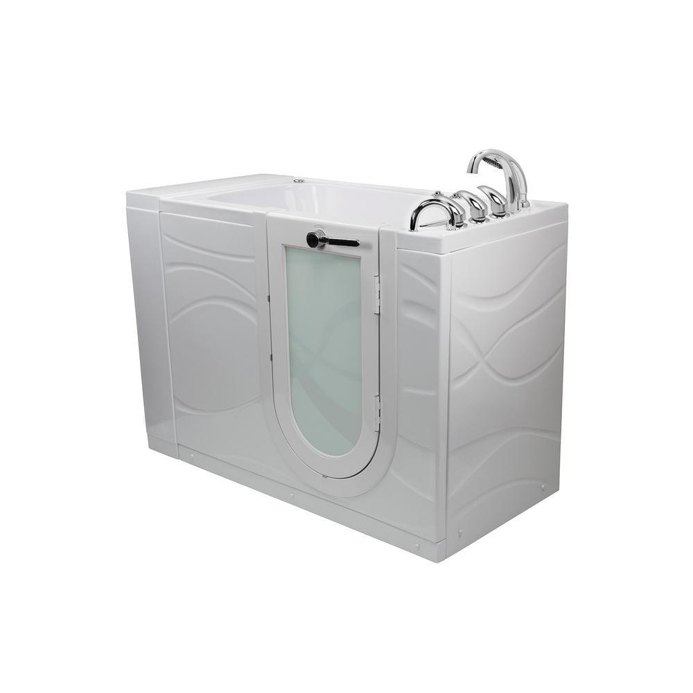 Zen 52 in. Walk-In Whirlpool and MicroBubble Air Bath Bathtub in White with RH Outward Swing Door, Faucet, RH Dual Drain
