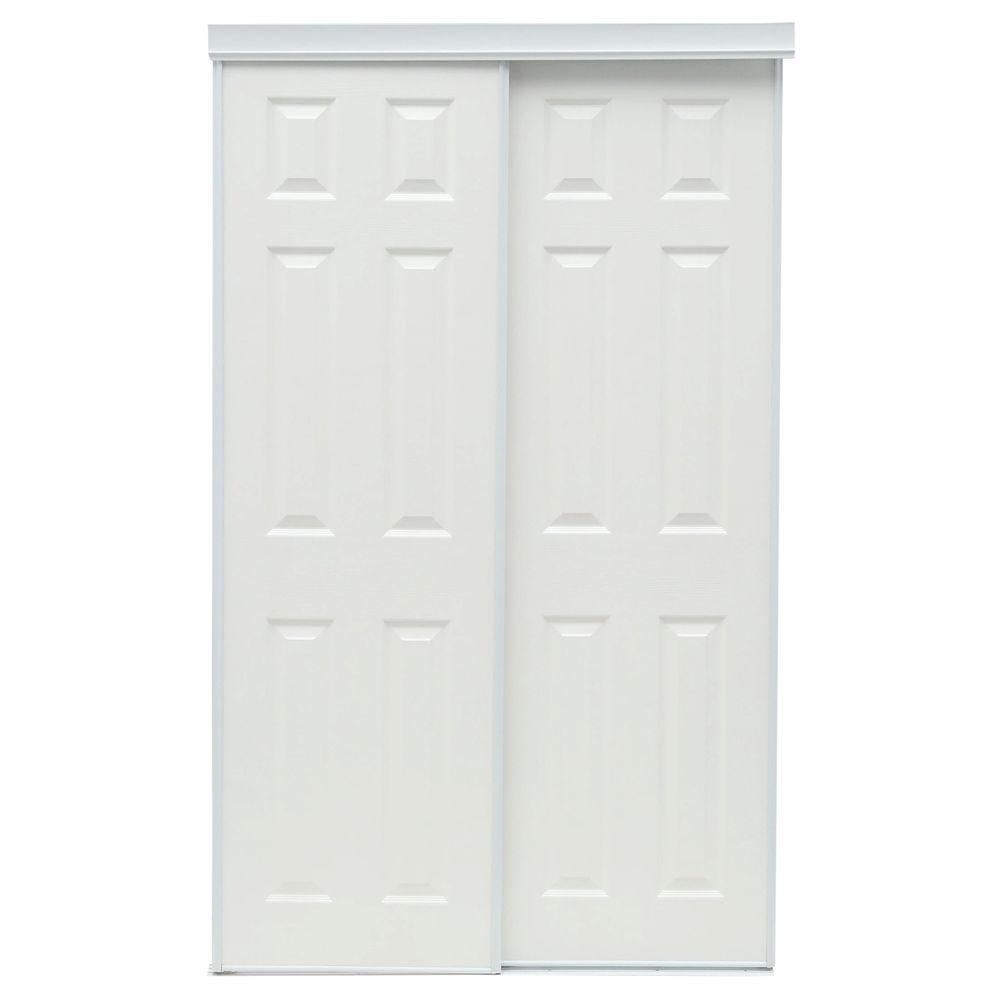 Truporte 48 in x 80 in 106 series white composite Interior sliding doors home depot