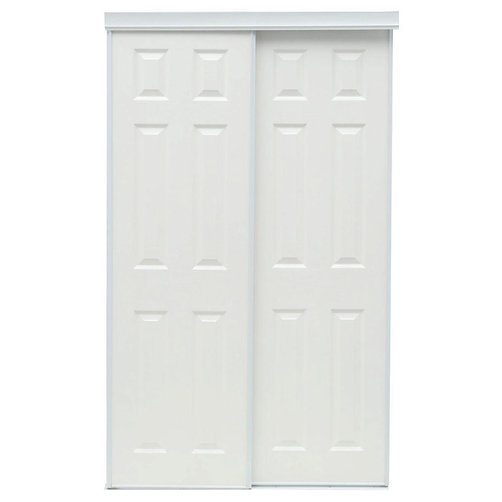 48 in. x 80 in. 106 Series White Composite Interior Sliding Door