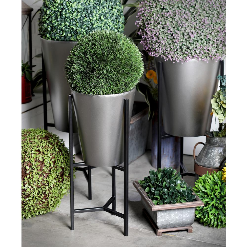 Silver Planter: Litton Lane Brown And Silver Iron Conical Planters With
