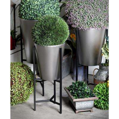Brown and Silver Iron Conical Planters with Stands (Set of 3)