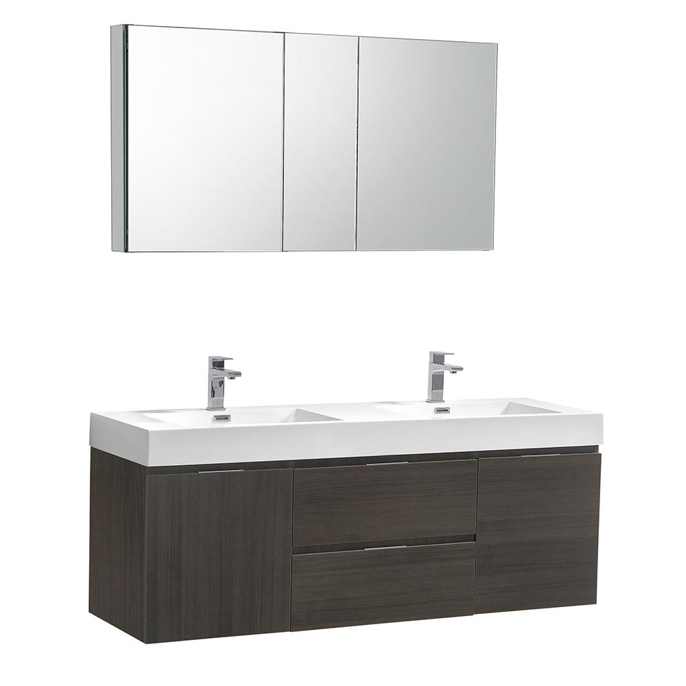 W Wall Hung Vanity In Gray Oak With Acrylic Double