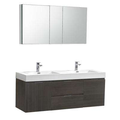 Valencia 60 in. W Wall Hung Vanity in Gray Oak with Acrylic Double Vanity Top in White with White Basin,Medicine Cabinet