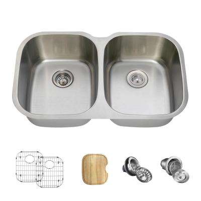 All-in-One Undermount Stainless Steel 35 in. Double Bowl Kitchen Sink