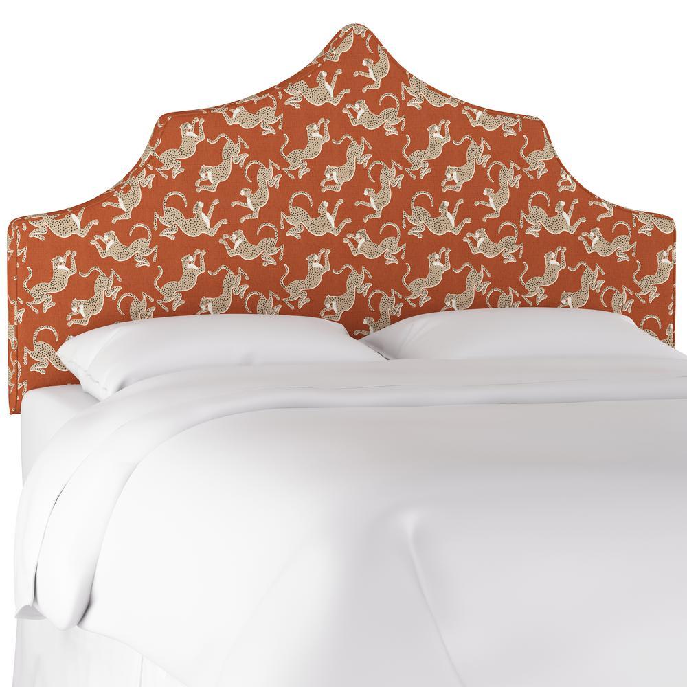 Skyline furniture leopard run burnt orange king upholstered notched headboard 2193klprnbrnoro the home depot