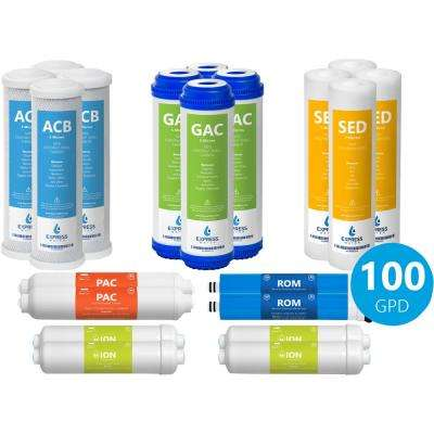 2-Year Deionization Reverse Osmosis System Replacement Filter Set 20 Water Filters with 100 GPD RO Membrane 10 in.