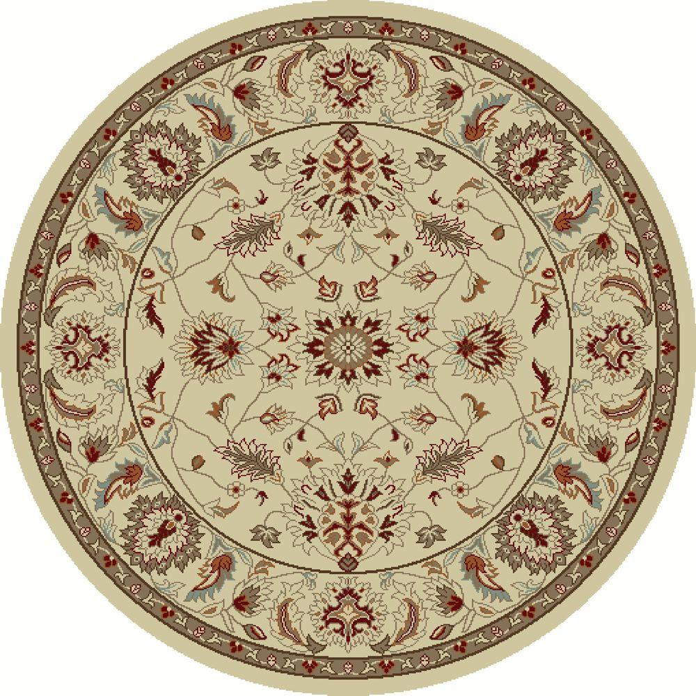 Chester Oushak Ivory 5 ft. 3 in. Round Area Rug