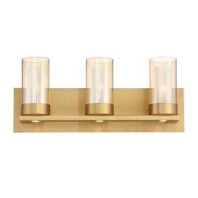 Samantha 19.5 in. 3-Light Brass LED Bathroom Vanity Light