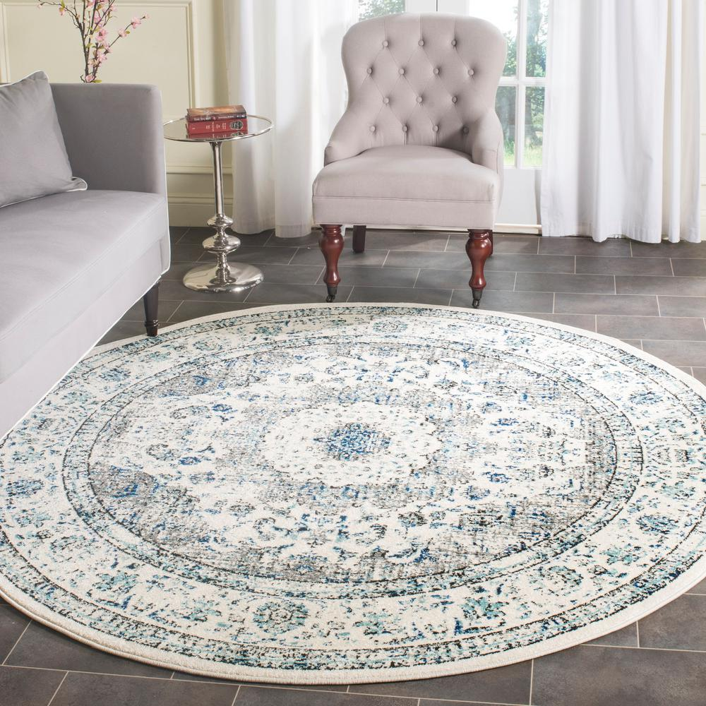 Living Room With Round Rug: Safavieh Evoke Gray/Ivory 9 Ft. X 9 Ft. Round Area Rug