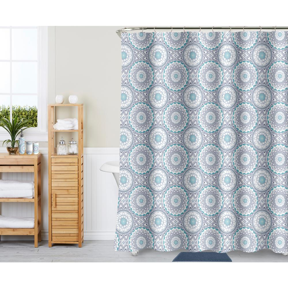 Blue 18 Piece Bath Rug Ceramic Accessories And Shower Curtain Set
