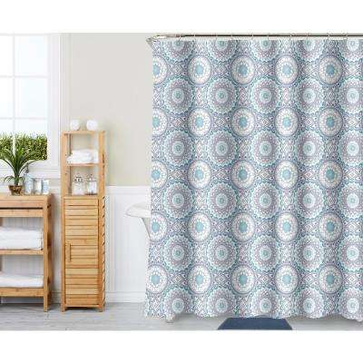 Spa Medallion lt. Blue 18-Piece Bath Rug, Ceramic Accessories and Shower Curtain Set