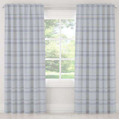 50 in. W x 120 in. L Unlined Curtains in Nautical Stripe Navy