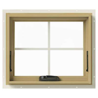 24 in. x 20 in. W-2500 Series Cream Painted Clad Wood Awning Window w/ Natural Interior and Screen