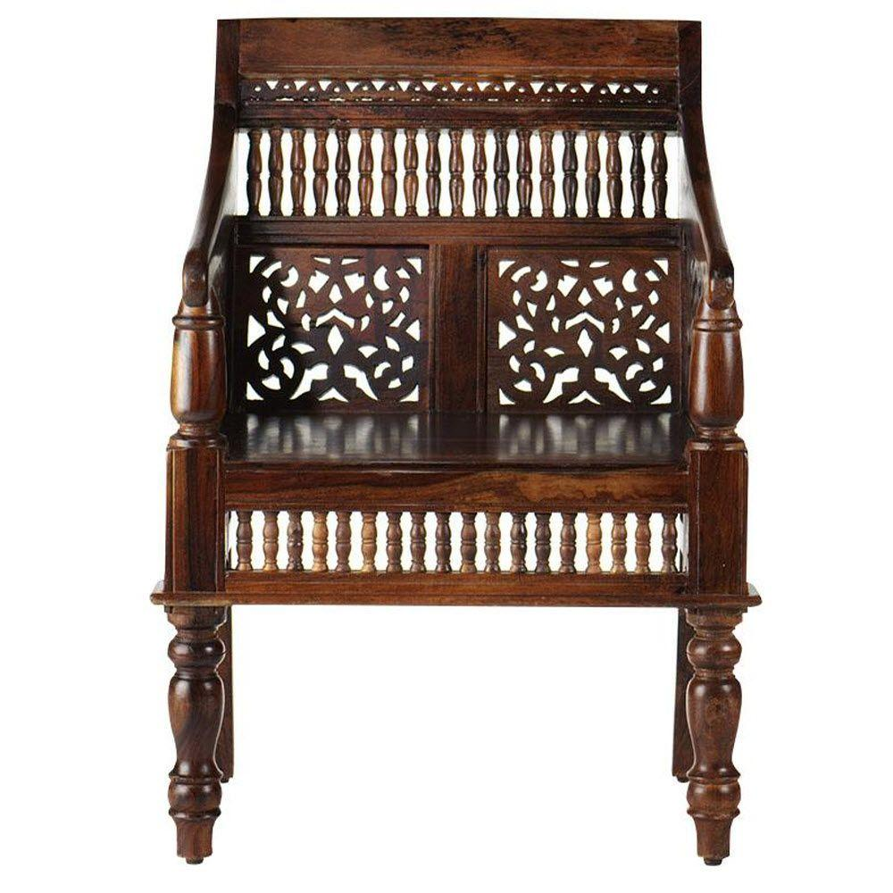 Home Decorators Collection Maharaja Walnut Wood Hand Carved Arm Chair