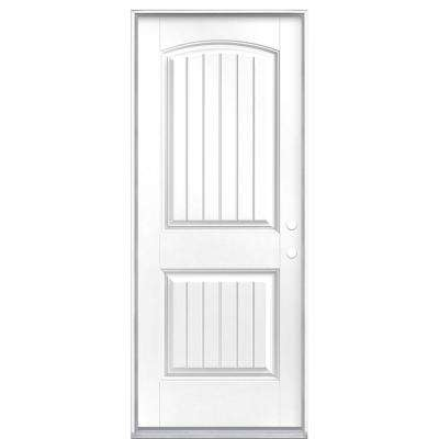 32 in. x 80 in. Cheyenne 2-Panel Left Hand Inswing Painted Smooth Fiberglass Prehung Front Exterior Door No Brickmold