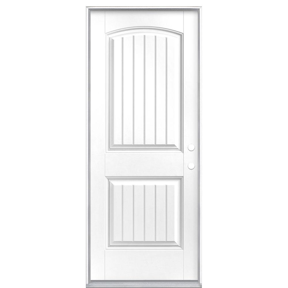 32 in. x 80 in. Cheyenne 2-Panel Left Hand Inswing Painted Smooth Fiberglass Prehung Front Exterior Door No Brickmold