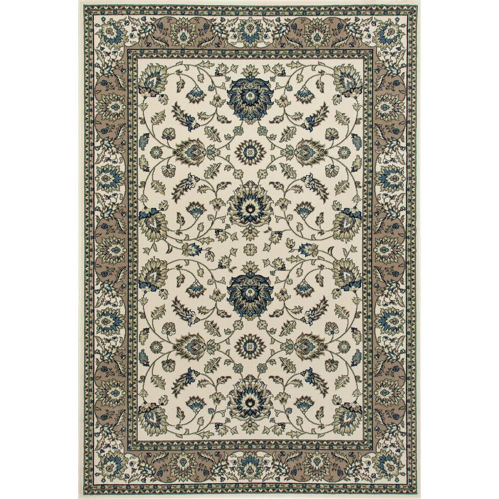 Kensington Jacobean Border Ivory 7 ft. x 10 ft. Area Rug