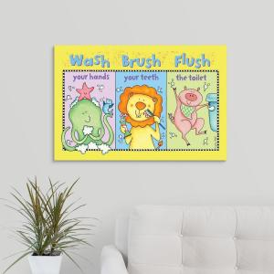"""Wash - Brush - Flush"" by  Sydney Wright Canvas Wall Art"