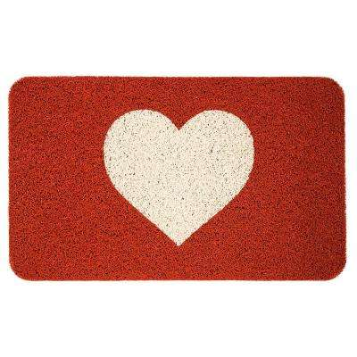Warm Heart 18 in. x 30 in. PVC Door Mat