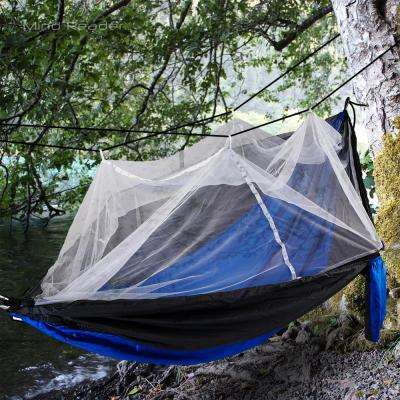 9 ft. Freestanding Nylon Hammock with Mosquito Cover in Blue